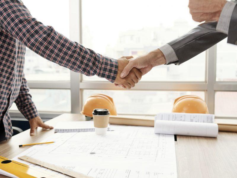 Business handshake after meeting